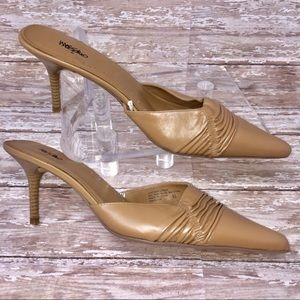 MOSSIMO Leather Stiletto Heeled Mules Tan Pointy